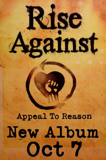 RISE AGAINST * Appeal To Reason * Music Poster 2' x 3' Rare 2008 NEW