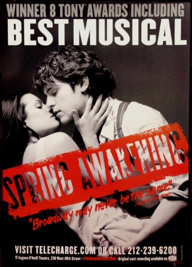 SPRING AWAKENING Original Broadway Theater Poster * Lea Michelle & Jon Groff * 3' x 4'Rare 2007 Mint