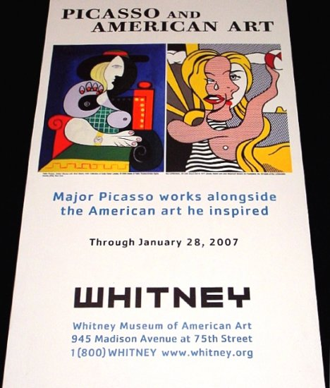 WHITNEY Museum Original Art Exhibition Poster * PICASSO & LICHTENSTEIN * NYC 2' x 4' Rare 2007 Mint