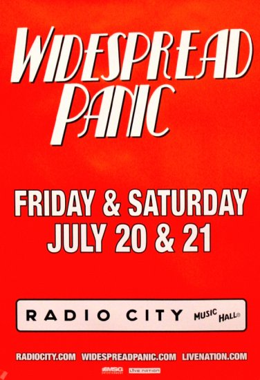 WIDESPREAD PANIC Concert Poster * RADIO CITY NYC * 2' x 3' Rare 2007 NEW