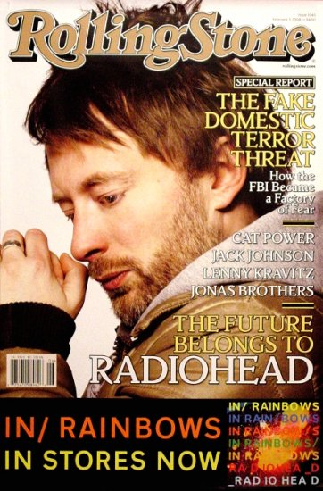 Radiohead * IN RAINBOWS * Original Music Poster 2' x 3' Rolling Stone Cover Rare 2008 Mint
