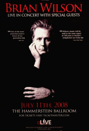 BRIAN WILSON Concert Poster Hammerstein Ballroom NYC 2' x 3' Rare 2008 NEW