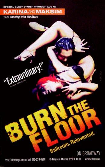 "Jason Gilkison's * BURN THE FLOOR * Broadway Poster 14"" x 22"" Rare 2009 MINT"