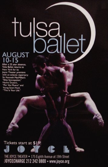 TULSA BALLET * JOYCE Dance Theater NYC * Poster 2' x 3' Rare 2009 Mint