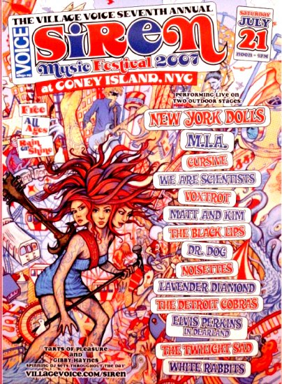 SIREN MUSIC FESTIVAL Original Concert Poster CONEY ISLAND NYC 2' x 3' * NY Dolls & M.I.A. * 2007 New