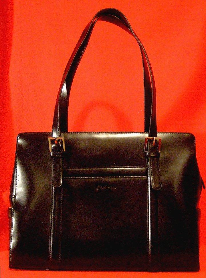 Franklin Covey Ladies Laptop iPad Tote Black Leather Bag Mint