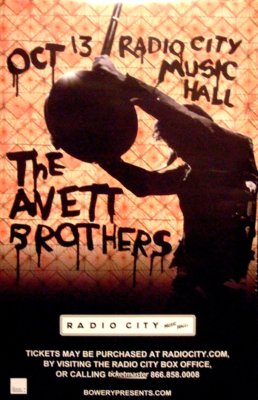 "The Avett Brothers Original Concert Music Poster * RADIO CITY NYC * 14"" x 22"" Rare 2010 Mint"