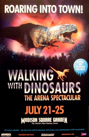 "Walking With Dinosaurs Arena Show Poster * MADISON SQUARE GARDEN NYC * 14"" x 22"" Rare 2010 Mint"