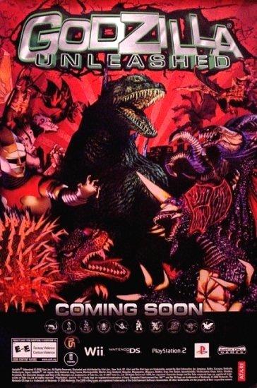 GODZILLA UNLEASHED Original Game Poster 2' x 3' Rare 2007 Mint