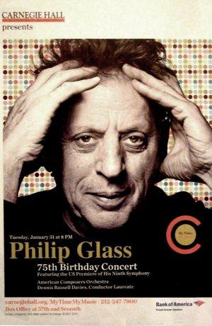 "Philip Glass Carnegie Hall Original Concert Poster * 75th Birthday * 14"" x 22"" Rare 2012 Mint"