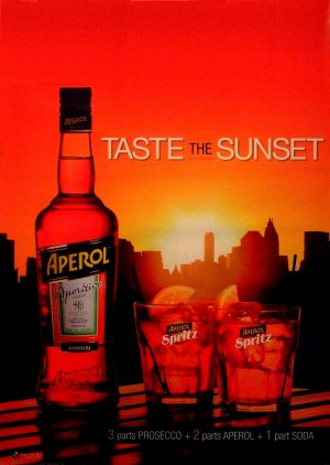 Aperol Spritz * Taste The Sunset * Original AD Poster 2' x 3' Rare 2012 Mint