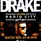 DRAKE Original Concert Poster * Live Radio City NYC * 2' x 3' Rare 2010 Mint