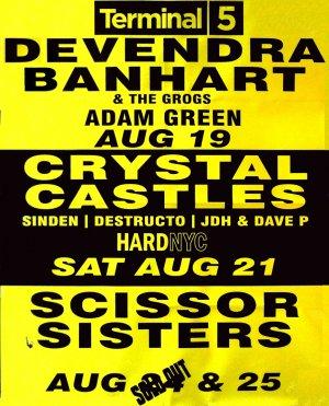 CRYSTAL CASTLES / SCISSOR SISTERS / DEV BANHART Original Concert Poster NYC 2' x 3' Rare 2010 Mint