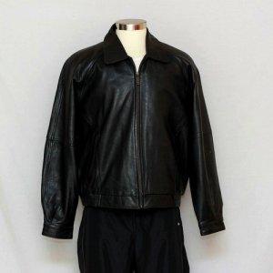 Perry Ellis Portfolio Mens Black Genuine Lambskin Leather Coat Bomber Jacket XL