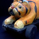 Antique TIGER TOY Child's Vintage Large Rolling Wooden Mint