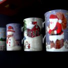 Lenox Christmas Collage Mug / Cup SET (4) Mint NEW