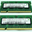 Hynix 1GB Kit 2x512MB 2Rx16 -555-1PC2-5300S2-AO DDR2 667MHz 200-Pin Laptop RAM for Macbook Pro Mint