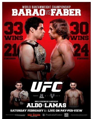 UFC 169 Barao vs. Faber II Mixed Martial Arts Championship Original Poster 2' x 3' Rare 2014 Mint