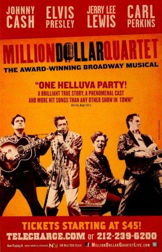 "Million Dollar Quartet Original Broadway Theater Poster 14"" x 22"" Rare 2011 Mint"