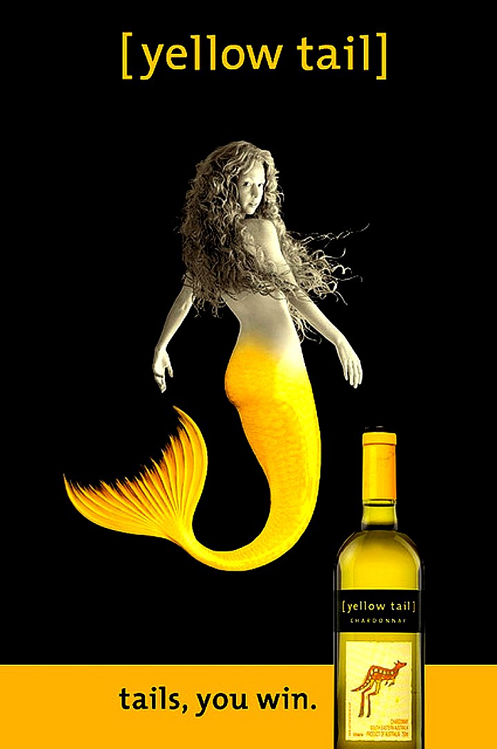 Yellow Tail Girl MERMAID Original Bus Shelter AD Poster HUGE 4' x 6' Rare 2007 Mint