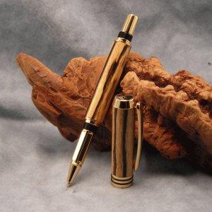 da Vinci 24k Gold Roller Ball Pen ~ Black & White Ebony