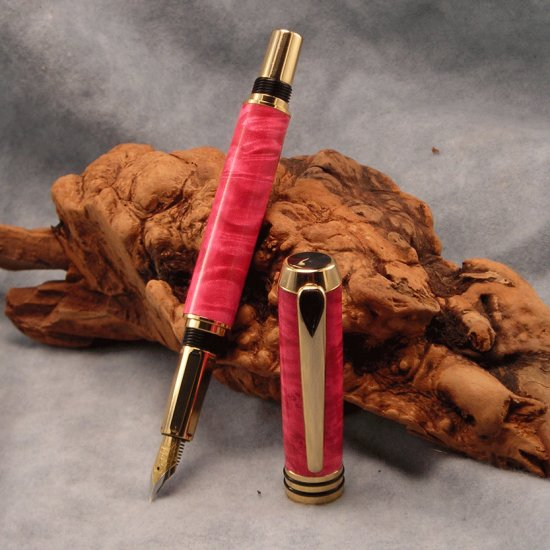 da Vinci 24k Gold Fountain Pen ~ Magenta dyed Box Elder Burl