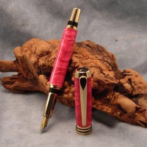da Vinci 24k Gold Fountain Pen ~ Magenta dyed Box Elder Burl