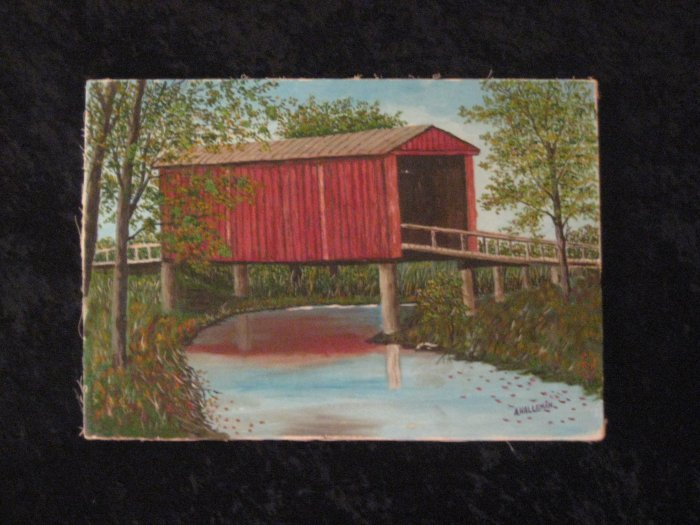 Canvas painting, Country Scene, Signed A. Halleman