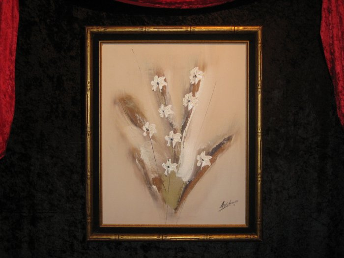 Floral Canvas Oil Painting, Signed Ashton III, Certified, Dated  1981