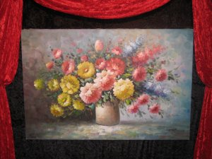 Big Charming Floral Oil Canvas Painting,  Signed BRown
