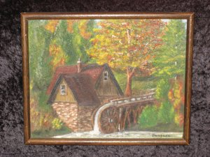 Old Canvas On Ooard Painting, Old Mill Scene, signed Finnegan
