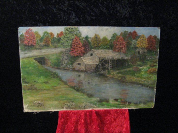 Vintage Painting On Canvas Board, Signed N. Shackelford, Dated 1963