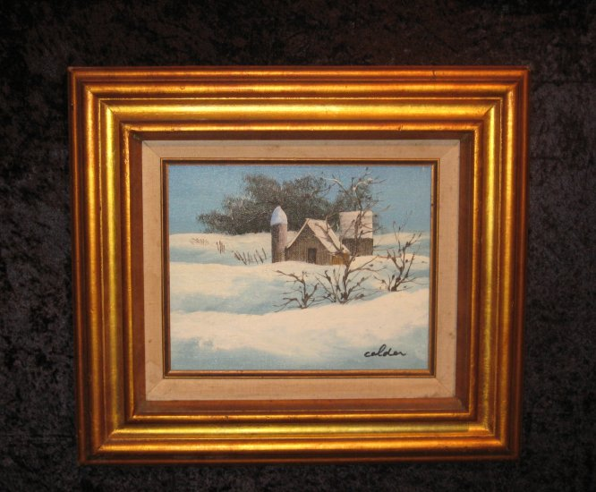 Winter Scene Canvas Painting, Signed Calder