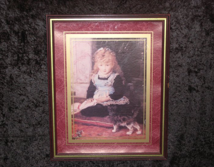 Old Unsigned Print Of A Girl With A cat