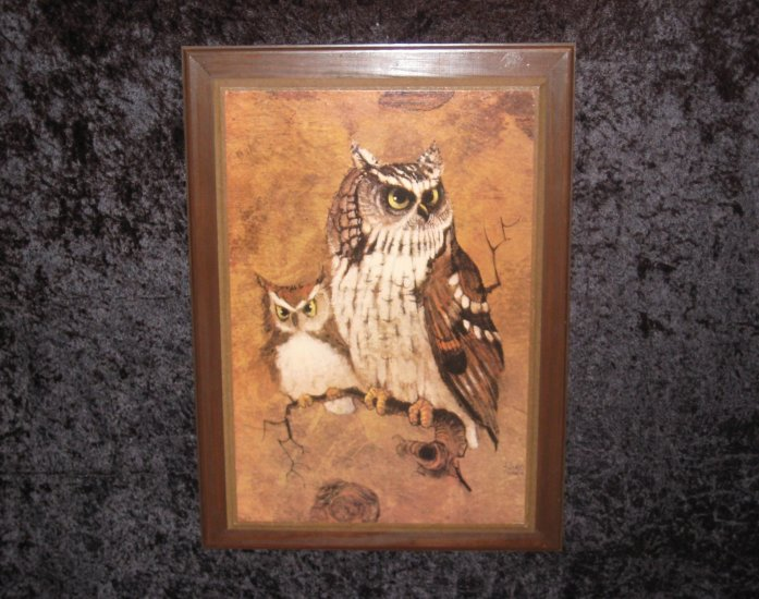 Old print with 2 owls, Litho in USA. Signed
