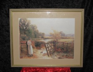 Framed Print, Country scene, Illegible Signed