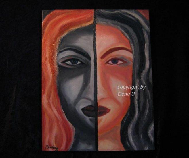 Very Original Idea Abstract, oil canvas,  portrait, signed Badea E, European artist