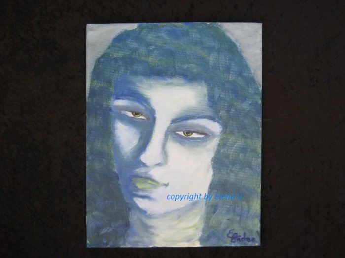 """Oil painting on canvas, portrait in blue, Signed E. Badea, European artist, 14"""" by 18"""""""