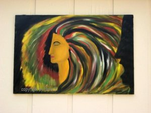 "Abstract oil painting on canvas, signed Anele, 24"" by 36"""