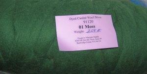 """48"""" Moss Green Dyed Corriedale Wool Spinning Felt Fiber"""