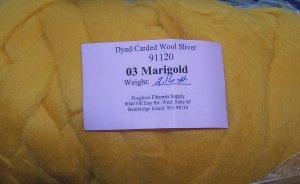 "48"" Marigold Dyed Corriedale Wool Spinning Felt Fiber"