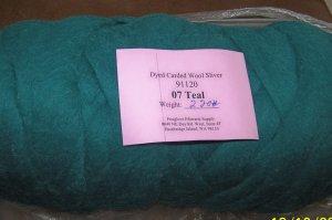 "48"" Teal Green Dyed Corriedale Wool Spinning Felt Fiber"