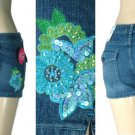 Arizona - Premium Missy / Plus Stretch Denim Shorts with Embroidered Sequin Flower Design
