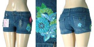 Arizona - Premium Missy / Plus Stretch Denim Shorts with Embroidered Sequin Flower Design