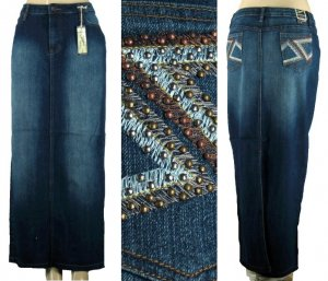 Clash - Missy / Plus 5 Pocket Denim Skirts with Embroidered and Studded Pocket Design -
