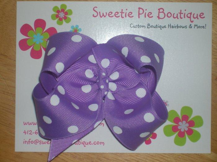Purple & White Polka Dot Basic Boutique Bow