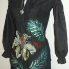 Hand Painted 2 piece set Amarylis and Leaves size small on brown denim