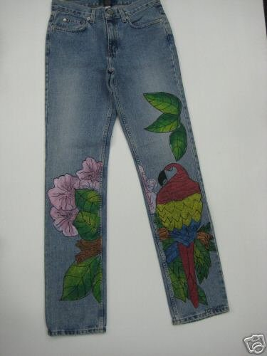 Hand Painted Shiny Parrot size 14