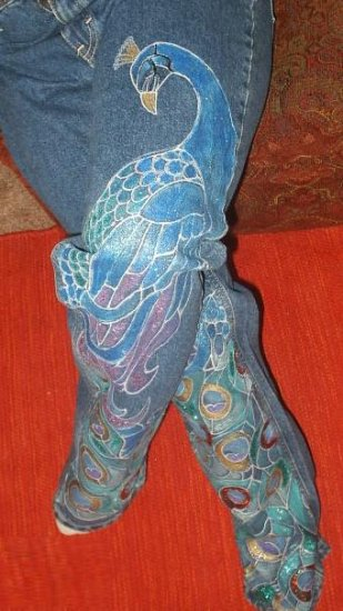 Peacock Hand Painted Jeans size 14