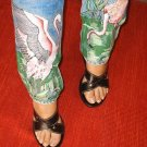 Hand Painted Flamingoes on jeans size 14